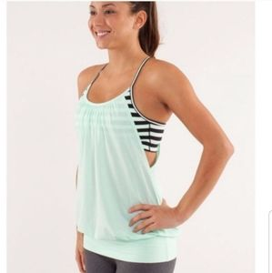 Lululemon No Limit Sea Foam Green/Blk Stripe Tank